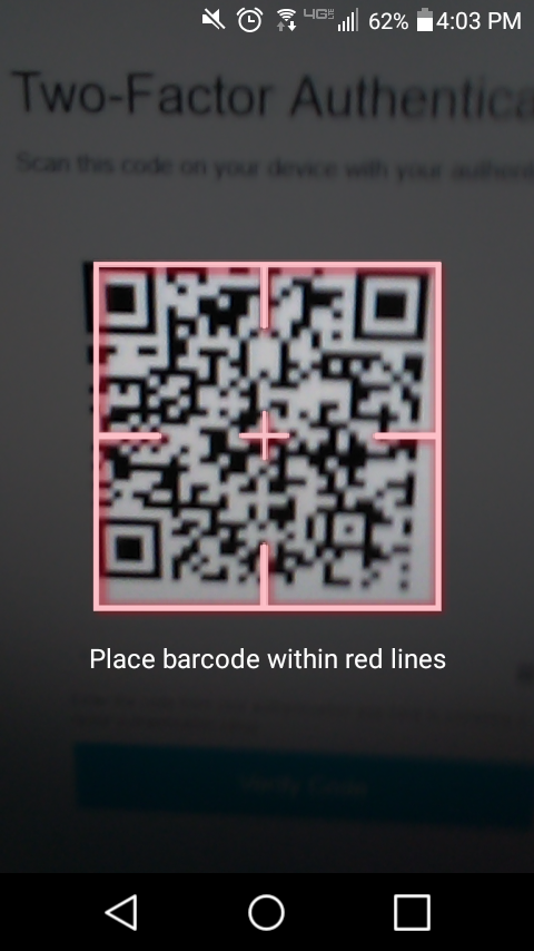 Google Authenticator: Scan barcode